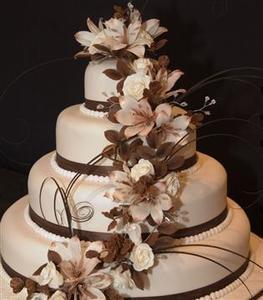 Brown Ivory Wedding Cake