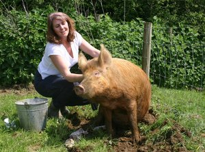 Liz Shankland and one of her pigs