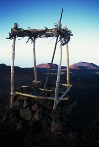 Hawaiian shrine on summit of Mau