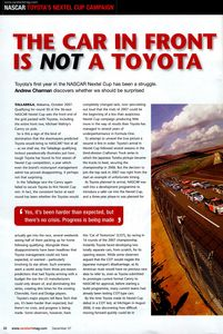 Opening page technical race car feature