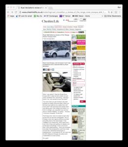 Range Rover Evoque Cheshire Life