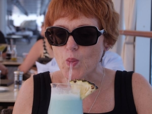 Viv with cooling cocktail in the tropics