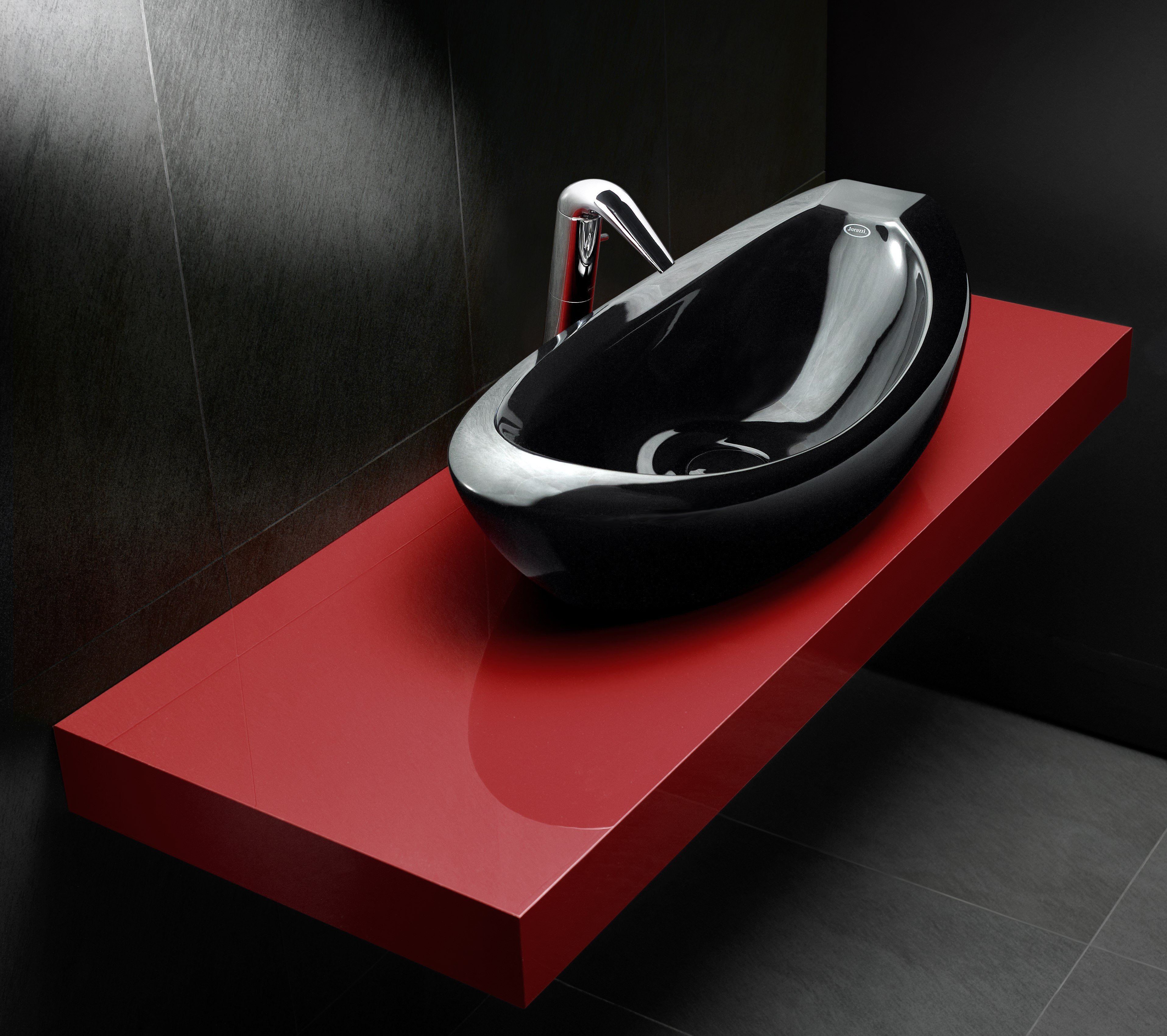 Sleek Black Takes Over The Bathroom