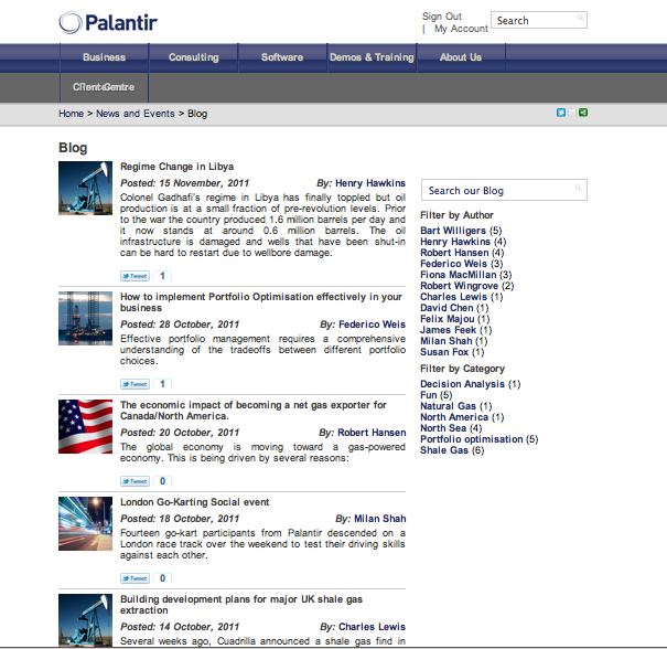 New blog launched by Palantir Solutions