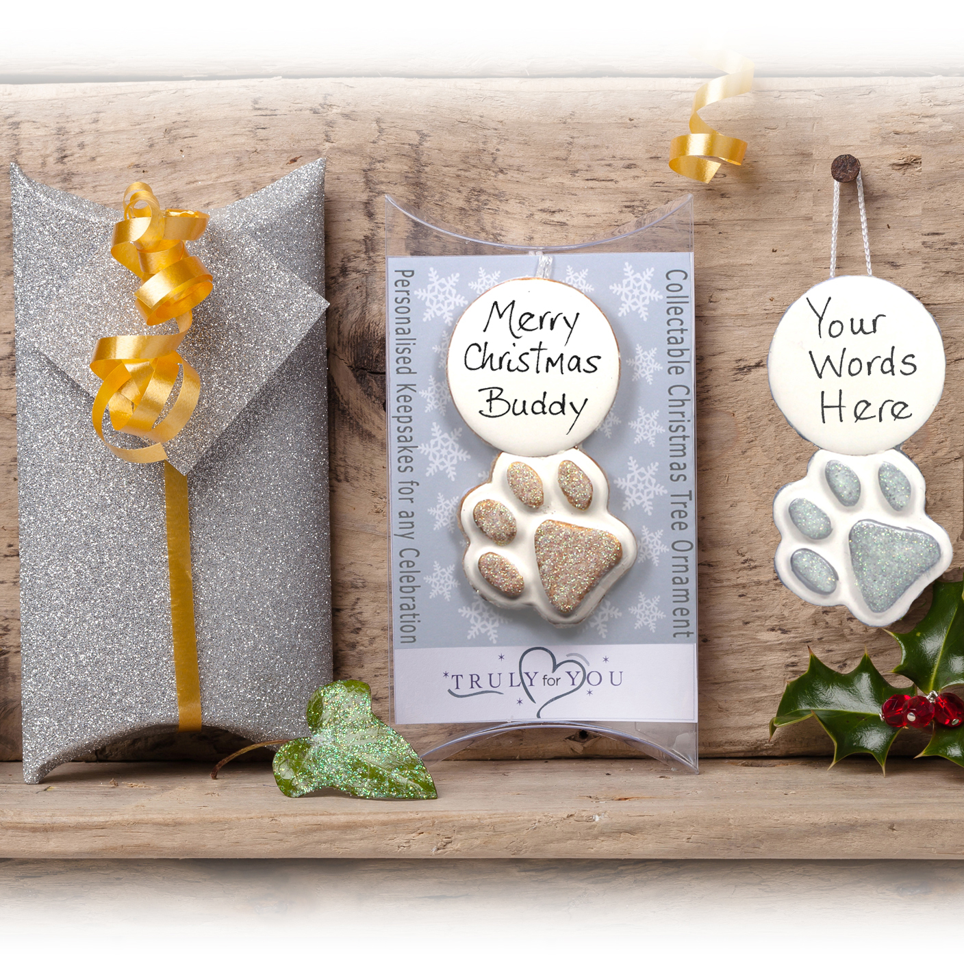 Personalised Pet Xmas Tree Gift Paw Prin