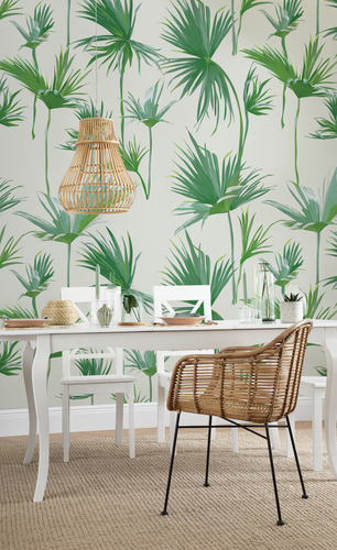 Tropical wallpaper dining room