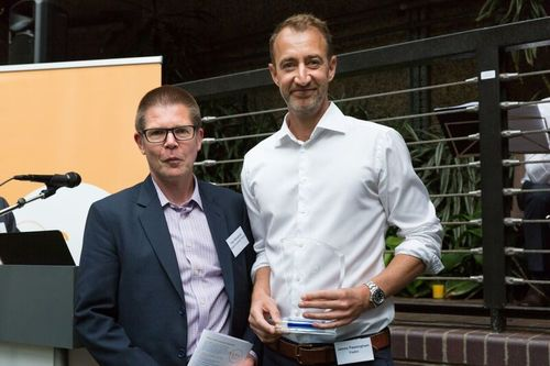 James Passingham (r), collects award