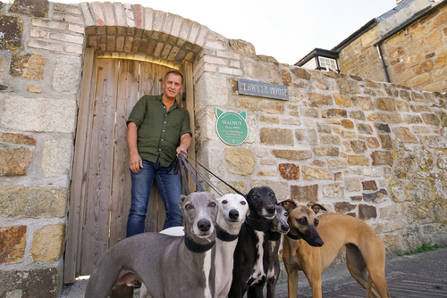 Walnut the Whippets owner and dogs