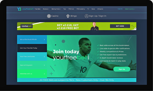 Your Free Bet Home page