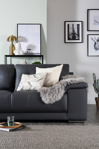 Kansas Grey Leather Sofa - &pound399.99