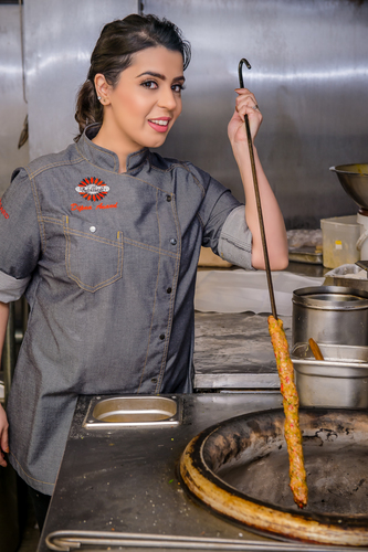 Chef Dipna Anand in the kitchen