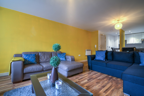 Wide shot of rental property interior