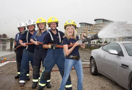 Twiggy and Battersea fire fighters