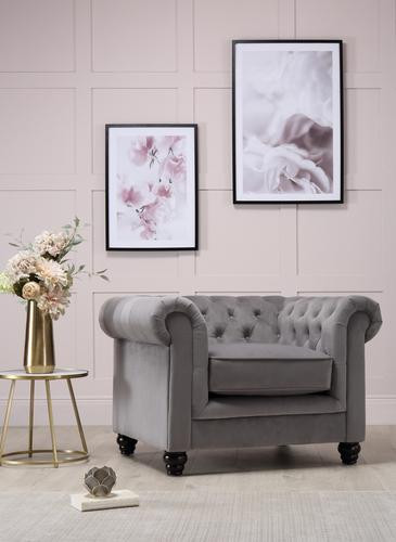 Hampton Grey Velvet Armchair - &pound449.99