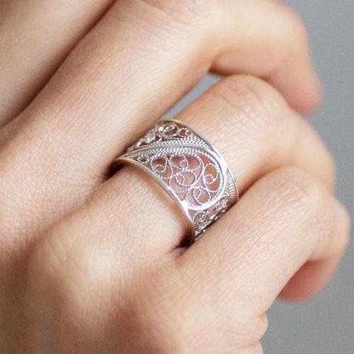 Silver Filigree Single Links Ring
