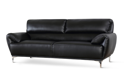 Enzo Black Leather Sofa - &pound449.99