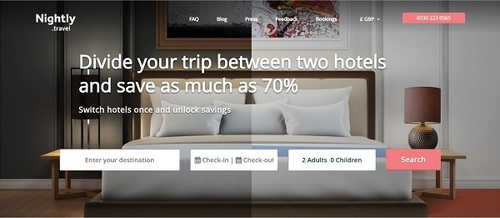 Nightly.travel hotel switching website