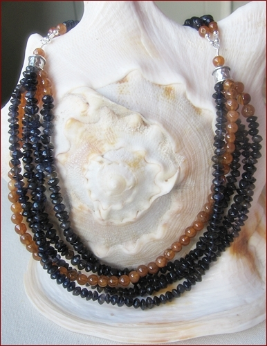 Iolite and Hessonite Garnet necklace