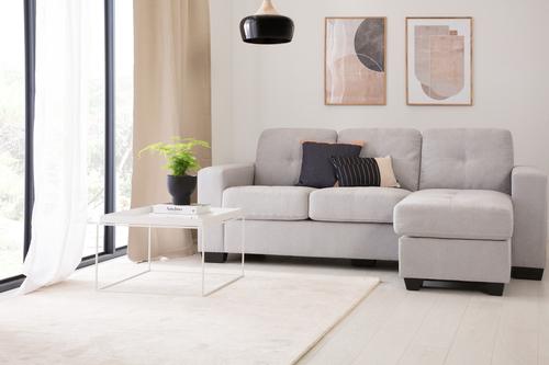FC Rio grey plush corner sofa minimal