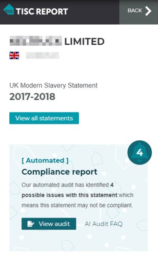 Example of Compliance Alert