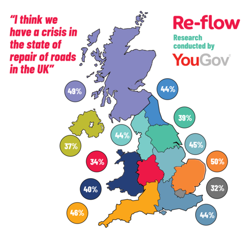 UK Map- YouGov results of 'Road Crisis'