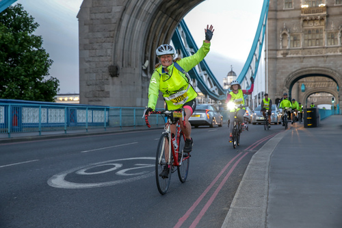 Riders over Tower Bridge
