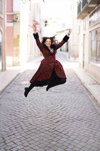 Luana Ribeira Jumping in Gothic Coat