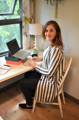 Helen Ball at her lockdown desk