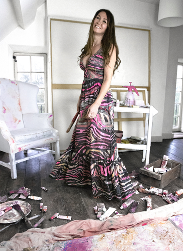 Artist Sonya Rothwell, handpainted dress