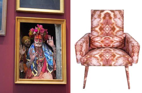 Sadhu wall art print + celestial chair
