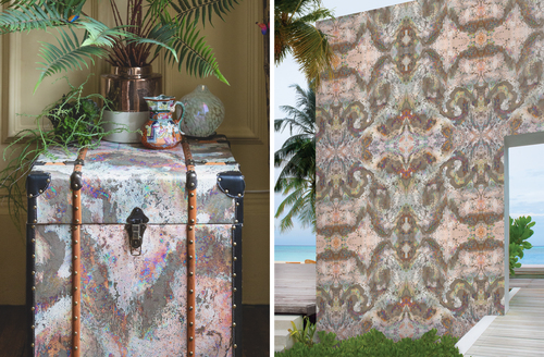 Chests wrapped in celestial wallpaper