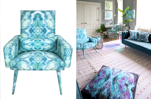 Upholstered chairs in celestial fabric