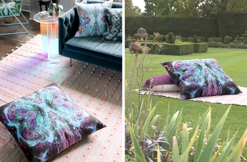 Meditate on floor cushion + throw pillow