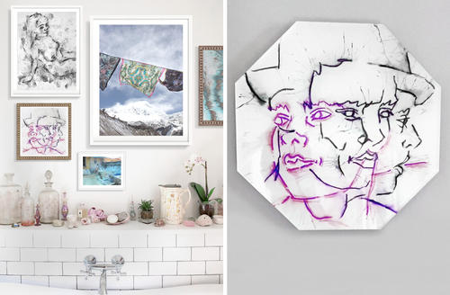 Beautiful bathroom hexagonal art print