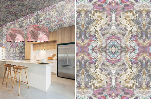 Zero Point Olive Pink wallpaper covering