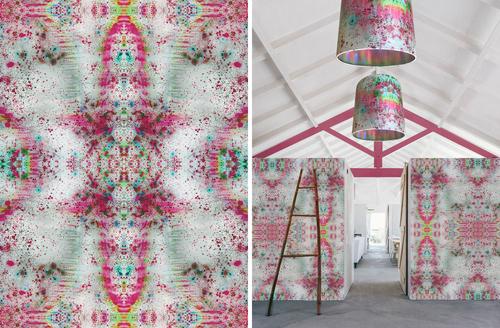 Oversized drumshades matching wallpaper