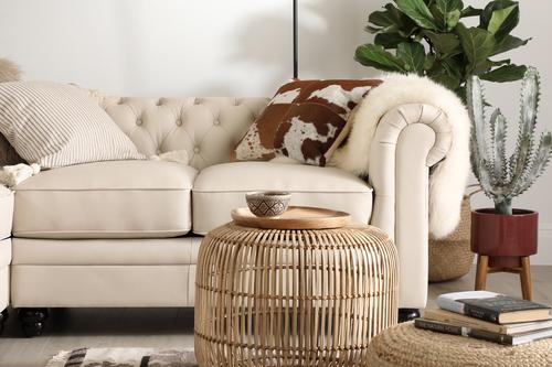 Hampton Ivory Leather Sofa