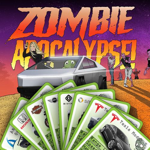 Tesla car in zombie apocalypse cartoon