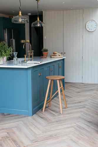 Herringbone LVT Floor Tiles Kitchen