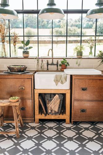 Grey Check Flooring Rustic Kitchen