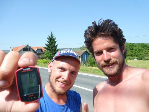 Henry (left)is 3000km into his epic trip