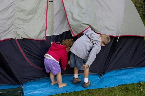 Camping in the garden is fun