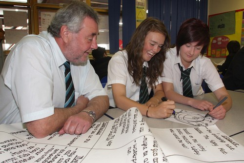 Dave Hayton, with Oulder Hill pupils