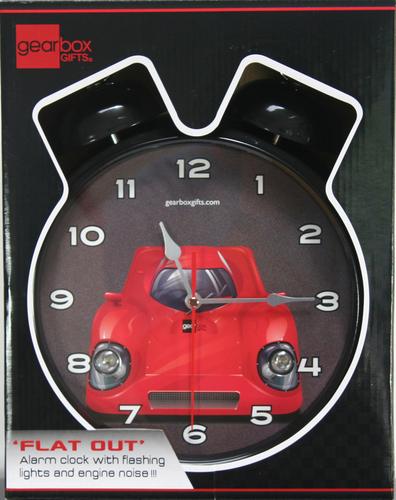 Alarm clock with flashing headlights
