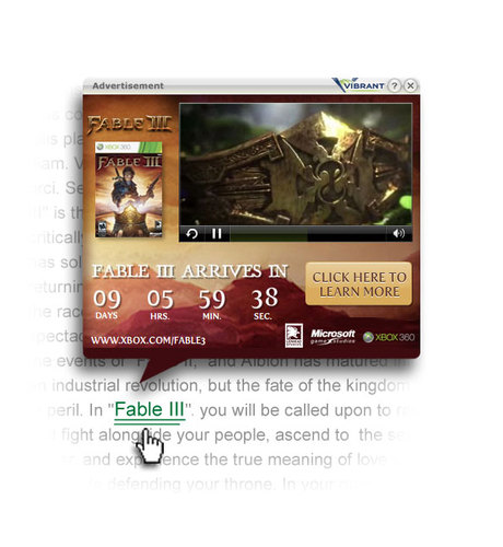 Vibrant in-text timer launches Fable III