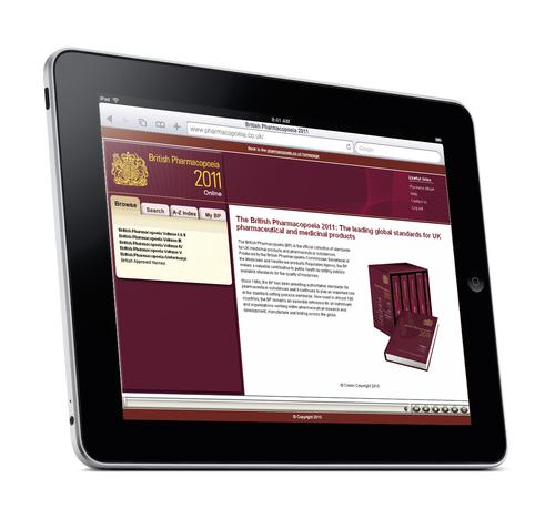British Pharmacopoeia shown on an iPad