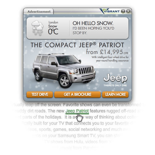 Vibrant weather in-text ad for Jeep