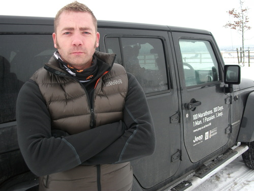 Mike with his Jeep sponsored Wrangler