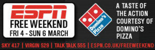 ESPN free weekend with Domino's Pizza