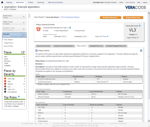Example View of Veracode Policy Manager